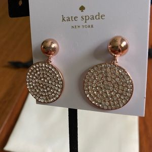 NWT Kate Spade pave disc drop earrings
